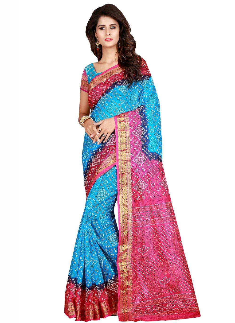 Firozi and Pink Art Silk Printed Traditional Saree