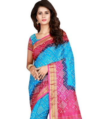 Firozi and Pink Art Silk Printed Traditional Saree