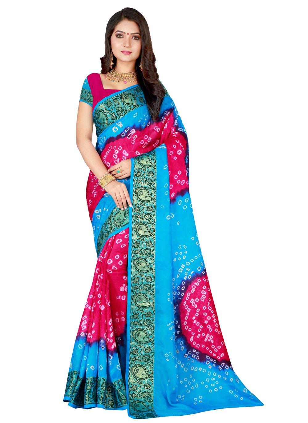 Firozi and Rani Patch Border Designer Traditional Saree