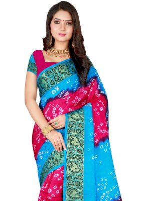 Firozi and Rani Patch Border Designer Traditional Saree