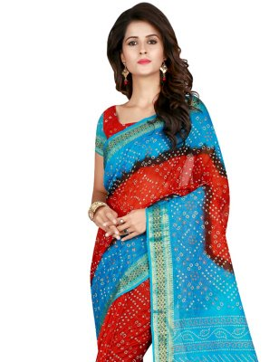 Firozi and Red Traditional Designer Saree