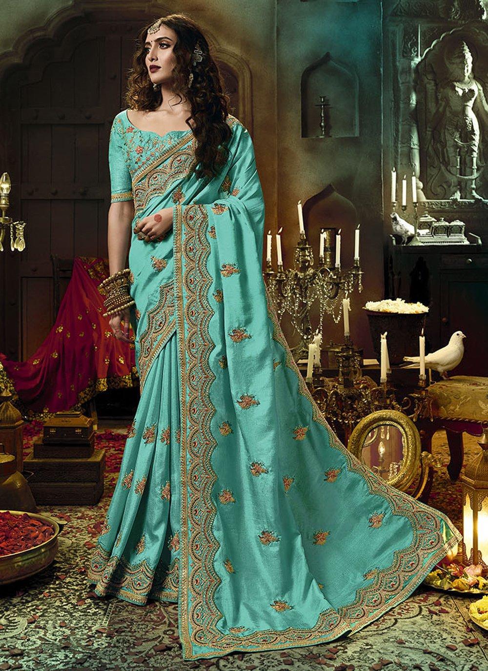 Firozi Art Silk Designer Traditional Saree