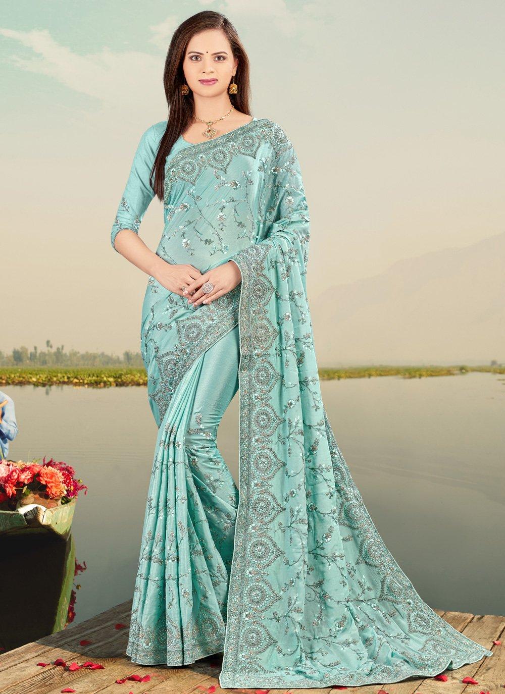 Firozi Mehndi Designer Saree