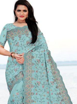 Firozi Mehndi Faux Chiffon Classic Designer Saree