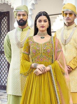 Floor Length Anarkali Salwar Suit Embroidered Georgette in Green