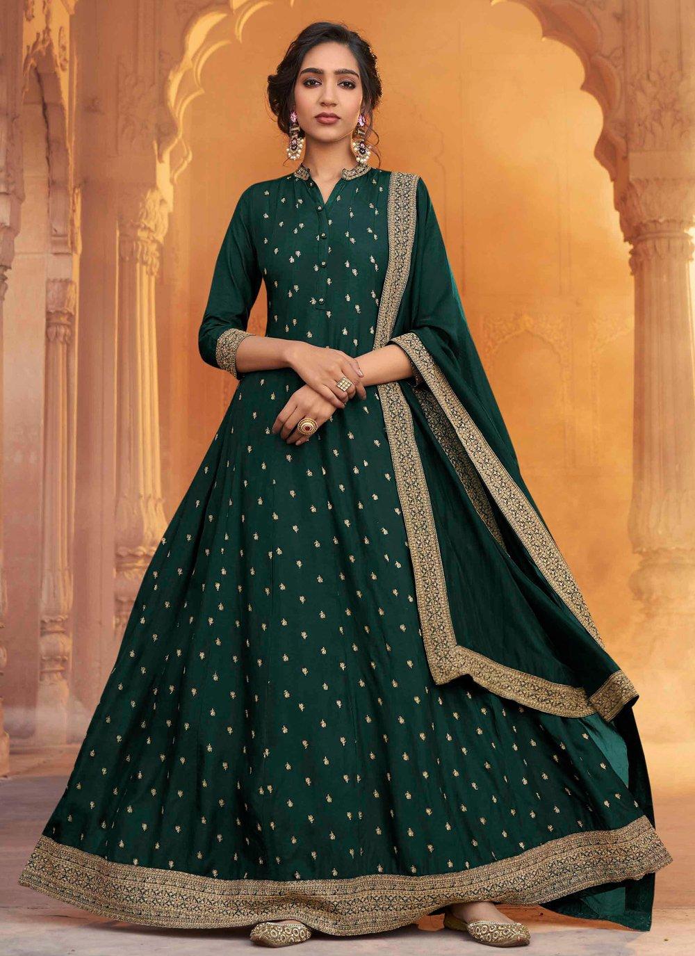 Floor Length Anarkali Salwar Suit Embroidered Silk in Green