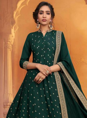 Floor Length Anarkali Salwar Suit Embroidered Silk in Green