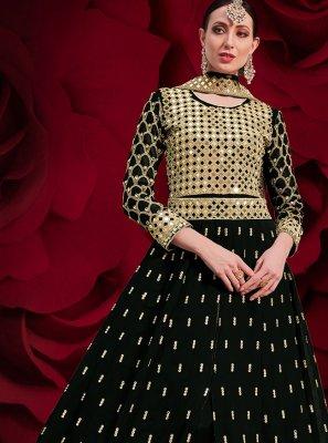 Floor Length Anarkali Suit Embroidered Faux Georgette in Black
