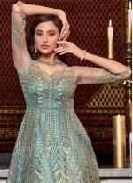 Floor Length Anarkali Suit Embroidered Net in Aqua Blue