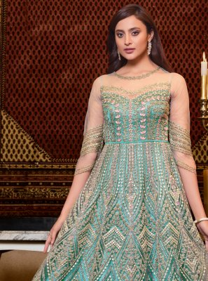 Floor Length Anarkali Suit Embroidered Net in Aqua Blue