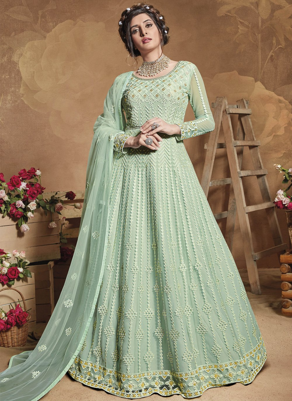 Floor Length Anarkali Suit Embroidered Net in Sea Green