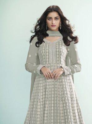 Floor Length Anarkali Suit Fancy Faux Georgette in Grey