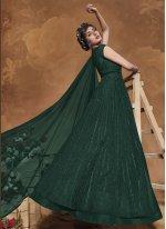 Floor Length Anarkali Suit Fancy Net in Green