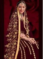 Floor Length Anarkali Suit Resham Faux Georgette in Magenta