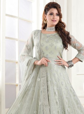 Floor Length Anarkali Suit Resham Net in Green