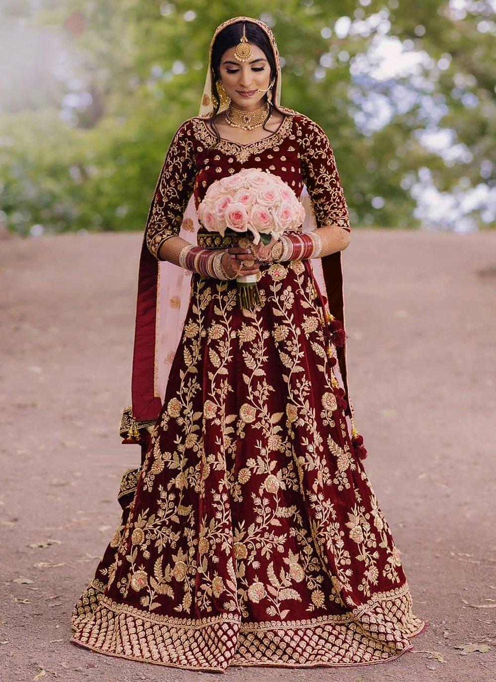 Floor Length Anarkali Suit Zari Velvet in Maroon