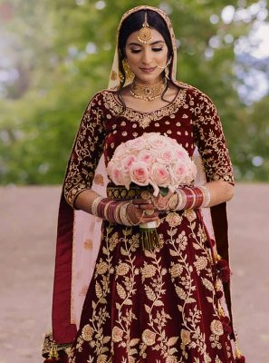 Floor Length Anarkali Suit Zari Velvet in Maroon