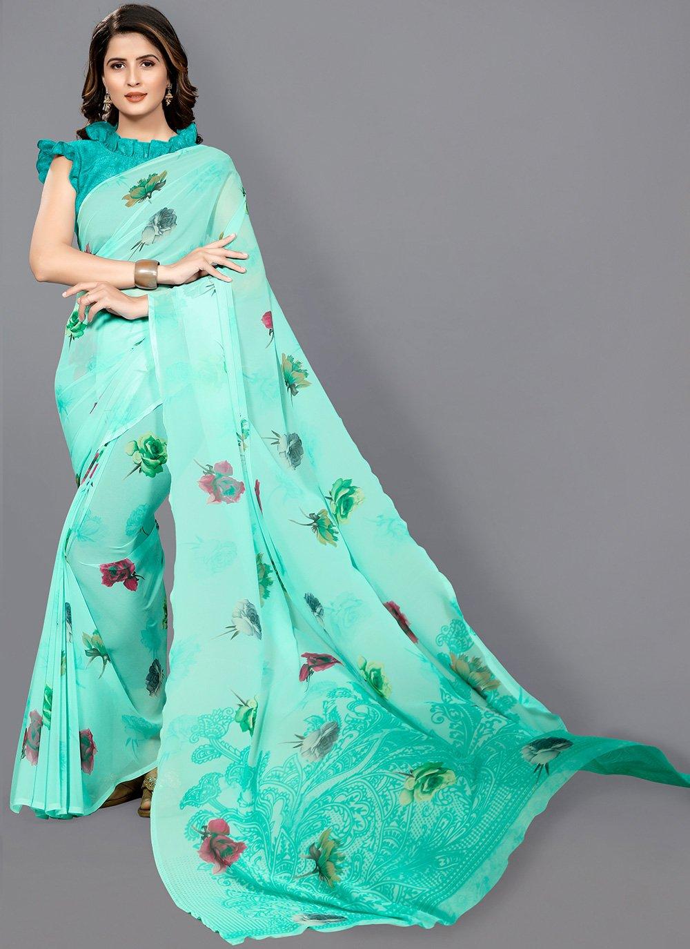Floral Print Casual Classic Saree
