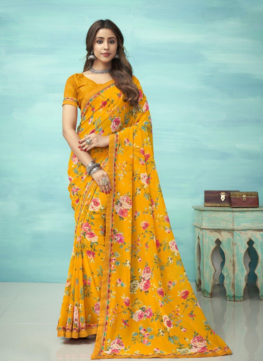 Floral Print Casual Saree