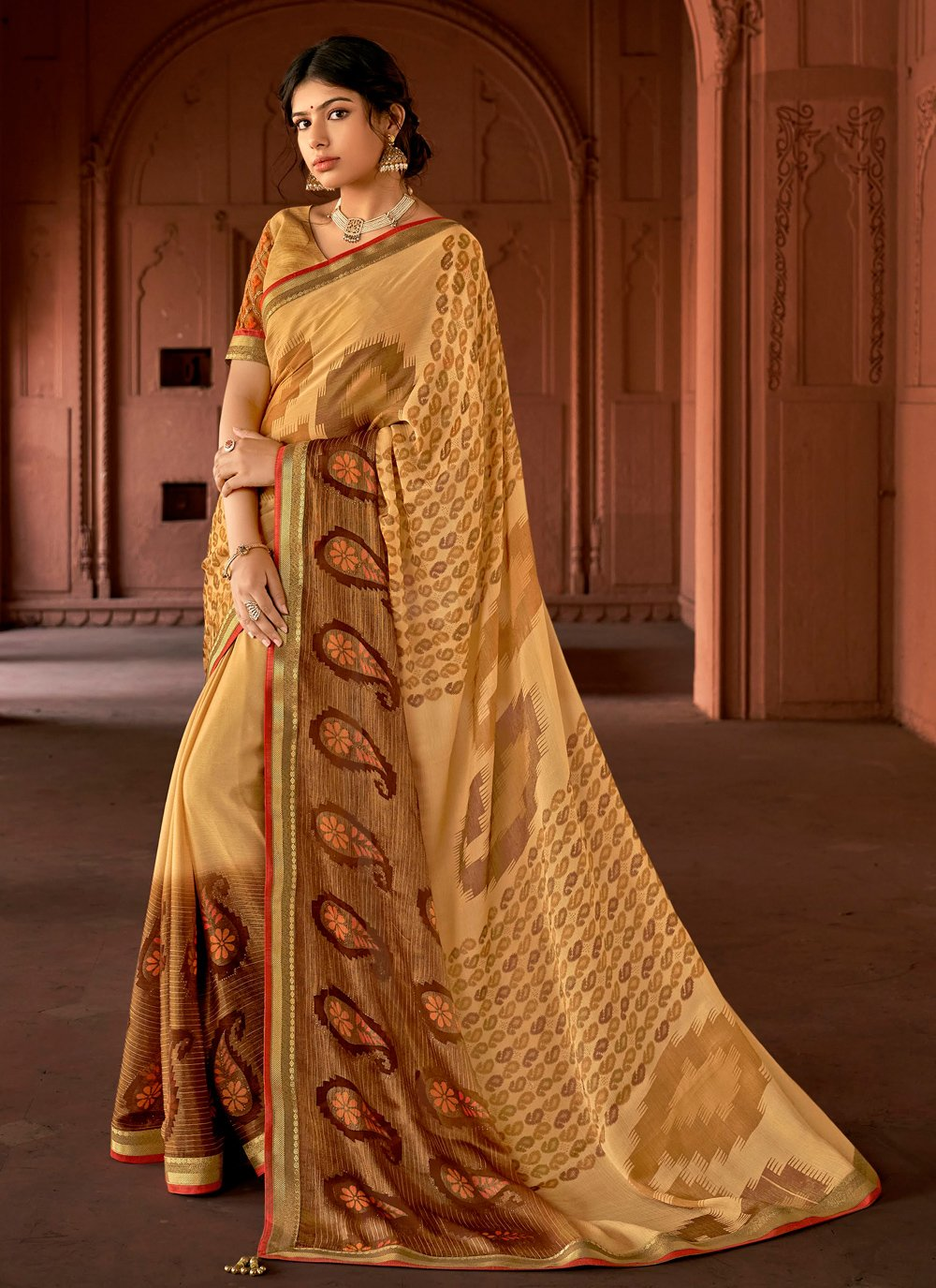 Floral Print Ceremonial Printed Saree