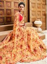 Floral Print Cream Faux Chiffon Designer Saree