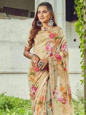 Floral Print Cream Trendy Saree