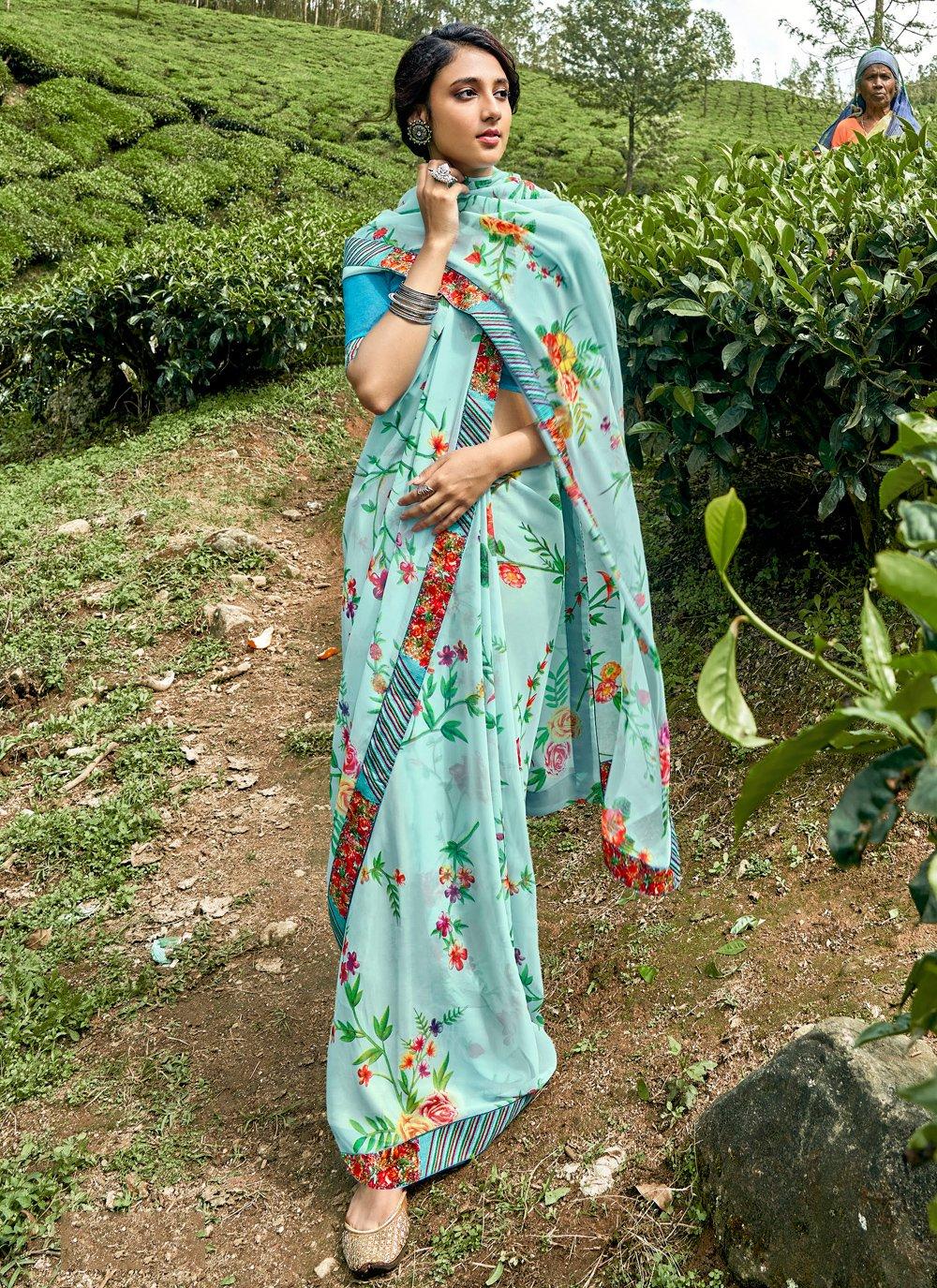 Floral Print Faux Georgette Printed Saree