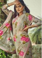 Floral Print Georgette Brown Trendy Saree