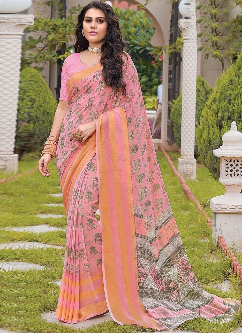 Floral Print Georgette Pink Trendy Saree