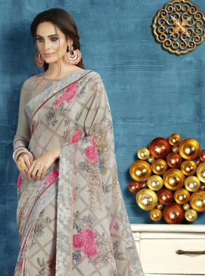 Floral Print Georgette Traditional Saree