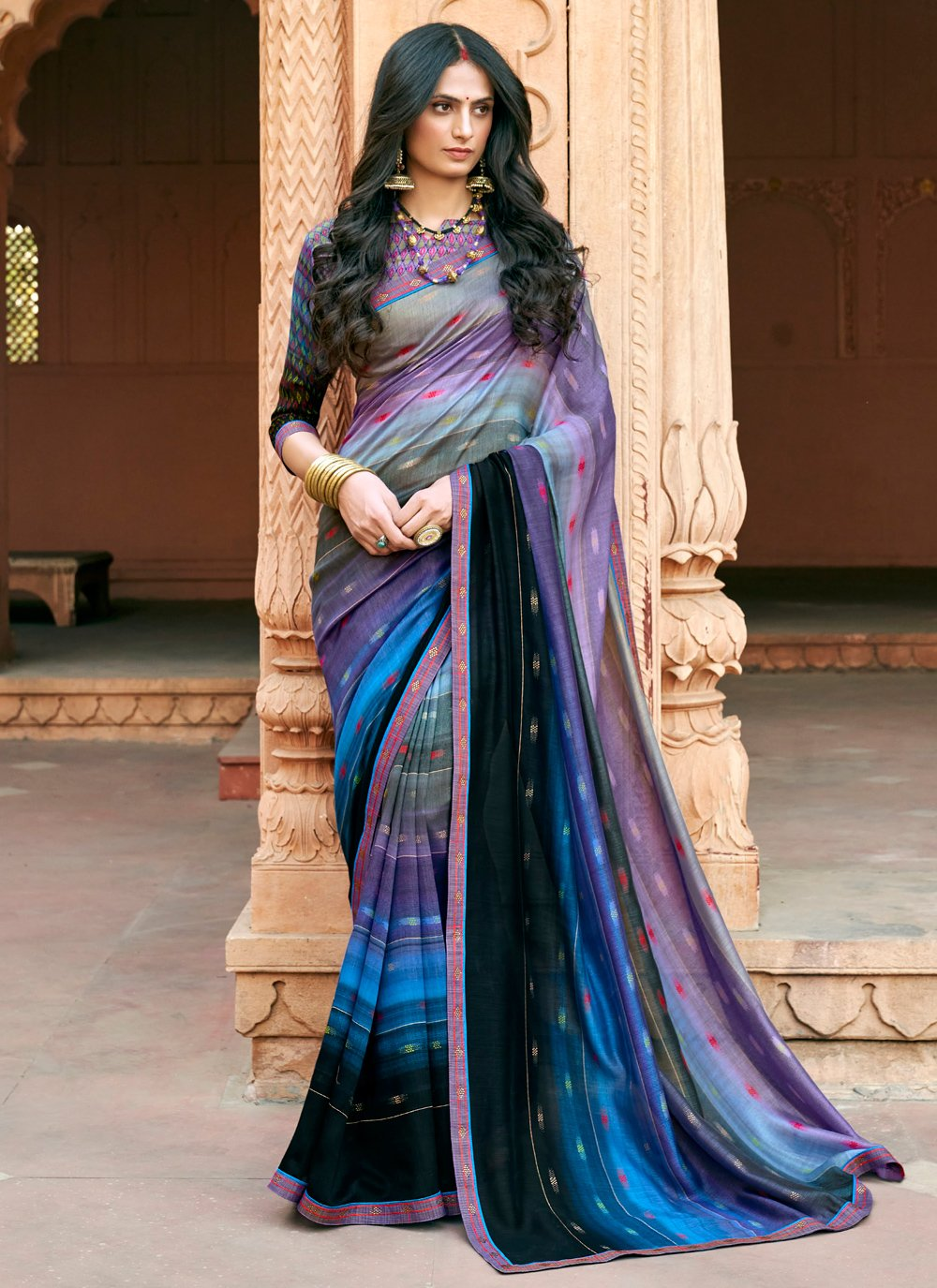 Floral Print Multi Colour Chanderi Printed Saree