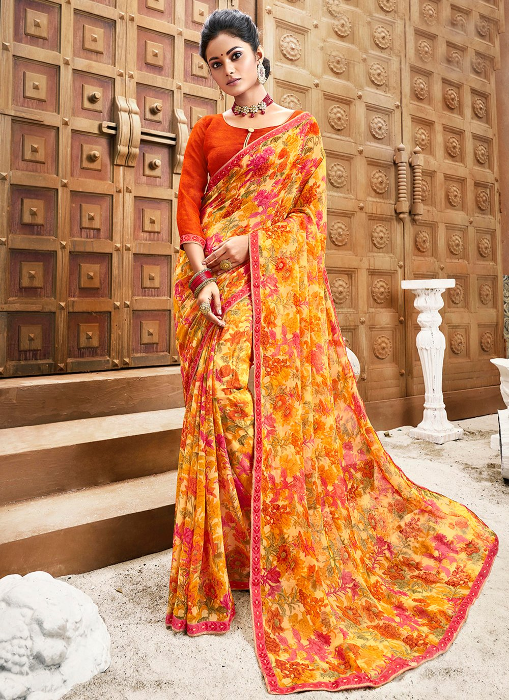 Floral Print Multi Colour Faux Chiffon Classic Saree