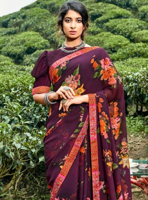 Floral Print Multi Colour Faux Georgette Printed Saree