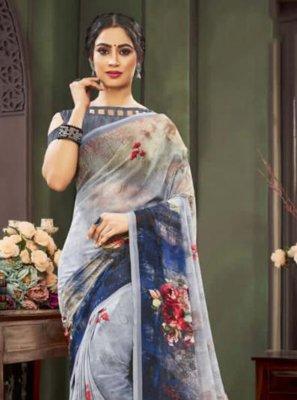 Floral Print Multi Colour Traditional Saree