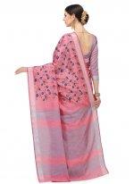 Floral Print Pink Cotton Silk Printed Saree
