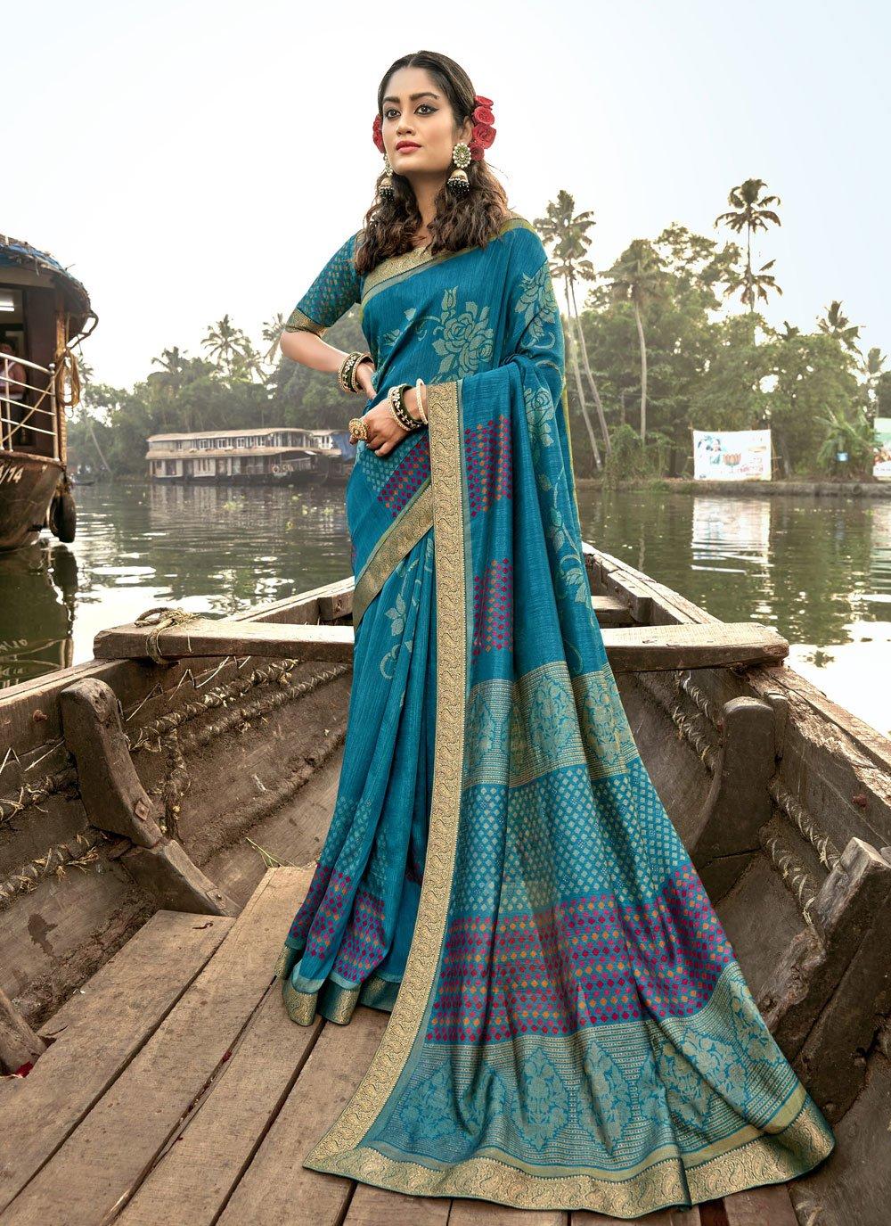 Foil Print Blue Vichitra Silk Classic Saree