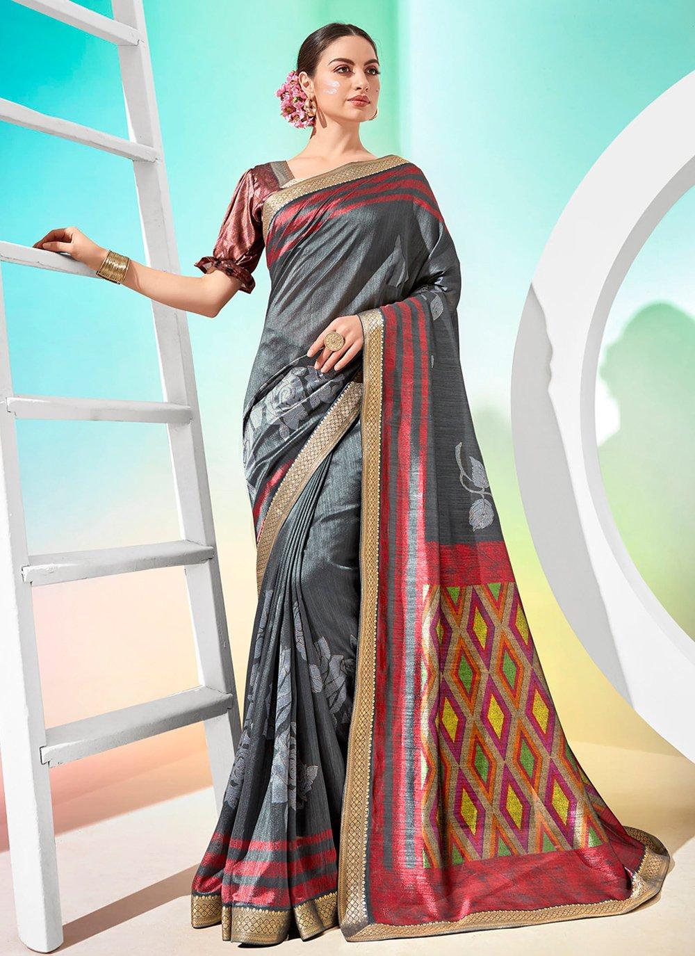 Foil Print Chanderi Designer Traditional Saree in Grey