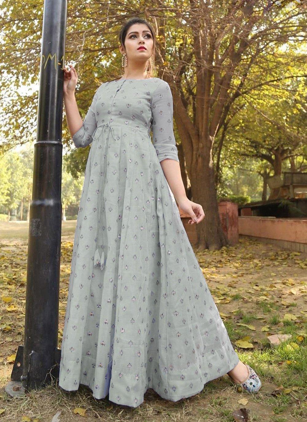 Foil Print Chanderi Floor Length Gown in Grey