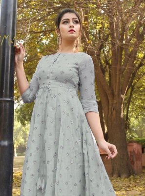 Foil Print Chanderi Floor Length Gown in Grey