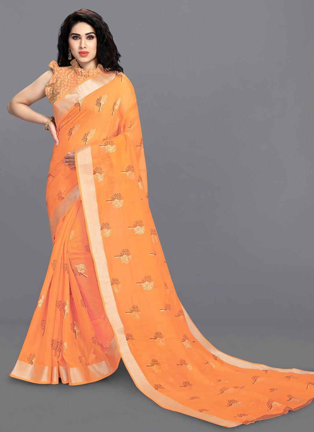 Foil Print Cotton Orange Printed Saree