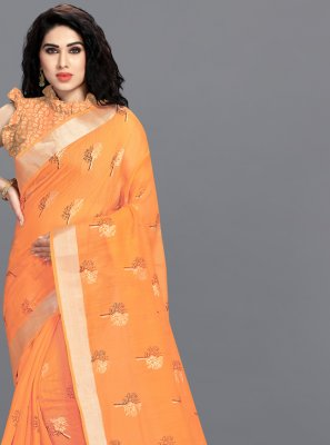Foil Print Cotton Orange Printed Saree