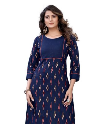 Foil Print Cotton Party Wear Kurti