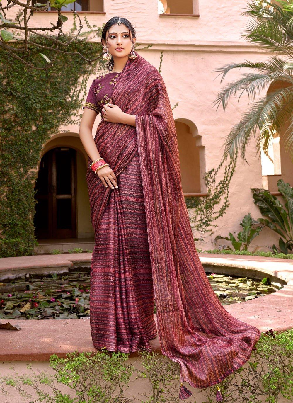 Foil Print Faux Chiffon Printed Saree in Multi Colour