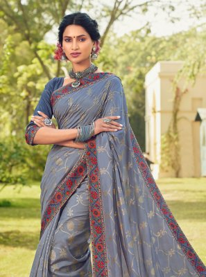 Foil Print Grey Cotton Silk Classic Designer Saree