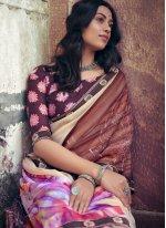 Foil Print Multi Colour Printed Saree