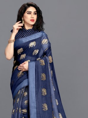 Foil Print Navy Blue Cotton Printed Saree