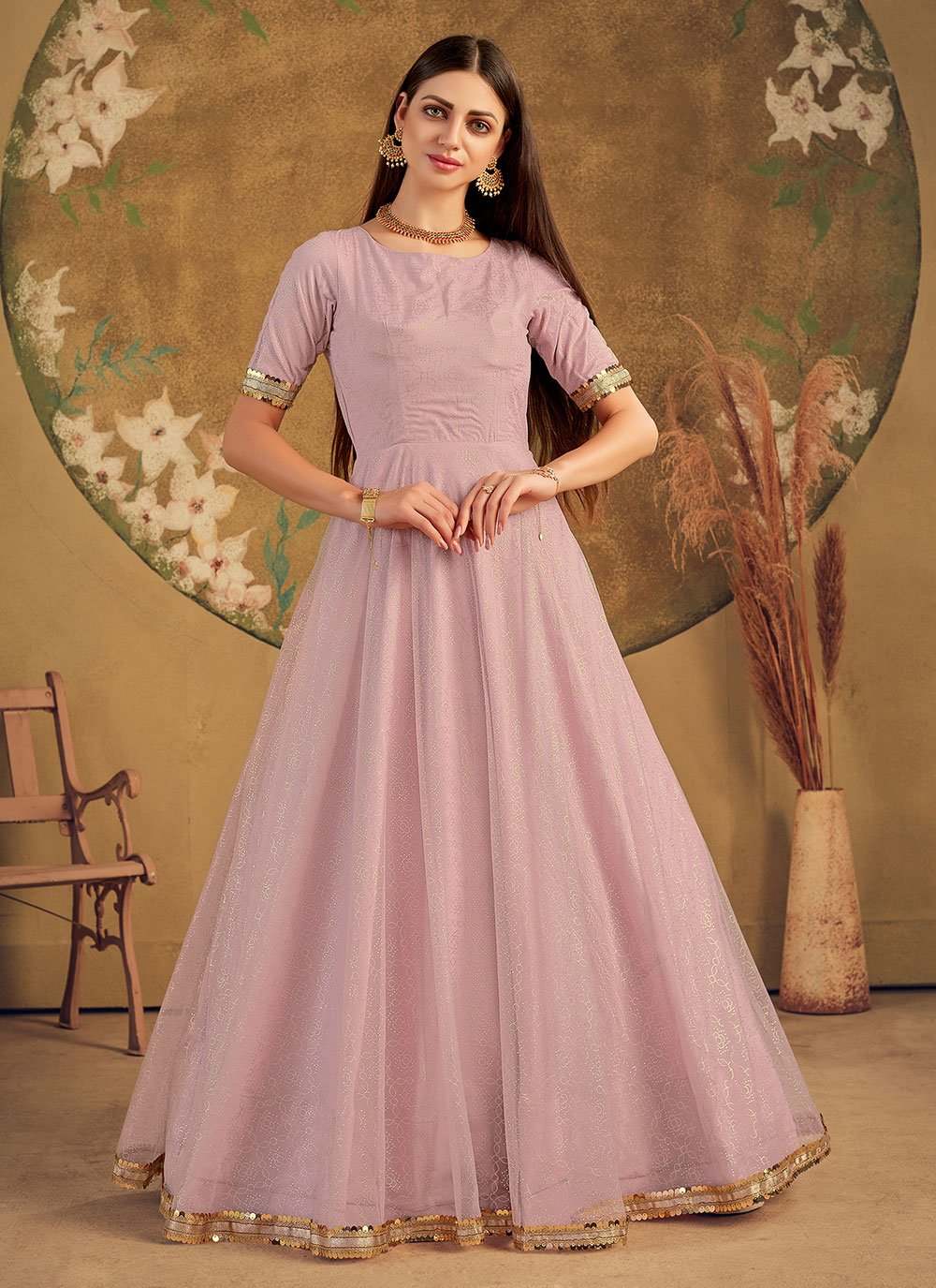 Foil Print Net Designer Gown