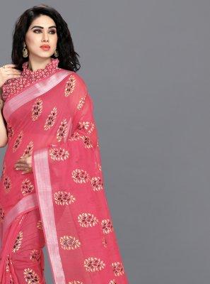 Foil Print Pink Printed Saree