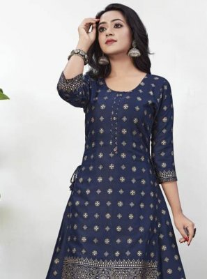 Foil Print Rayon Blue Party Wear Kurti