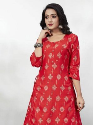Foil Print Rayon Party Wear Kurti
